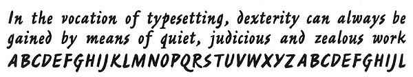 Ashley Script, serie 574, schrijfletter, corps 14 en 18